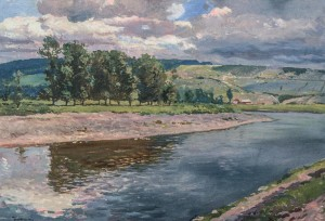 View Of The Uzh River, 1946, oil on canvas, 70x100