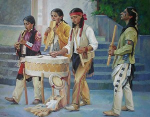 Street Musicians, oil on canvas, 55x70