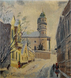 Dukhnovycha Street In Winter Uzhhorod, 1946, pastel on canvas, 67x62