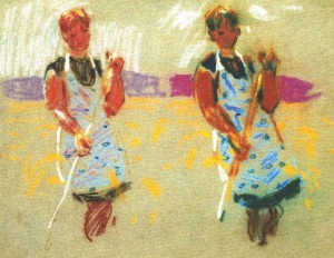 Two Girls, 1971, pastel on paper, 32х42