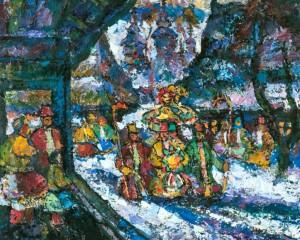 Native Land, 1990, tempera on canvas, 80х100