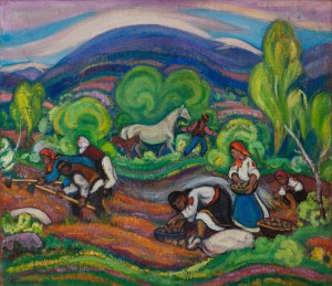 E. Kontratovych Work In The Field', 1974, tempera on canvas, 89х101