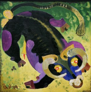 A Bull, from the photo archive of Y. Nebesnyk, 1994, oil on canvas, 69x69
