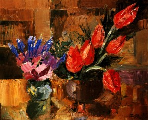 Two Bouquets', 1986, oil on fibreboard, 60,5x75