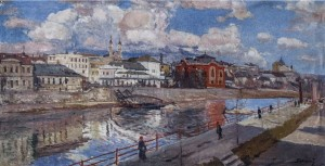 View Of Uzhhorod, 1946, oil on canvas, 73x140