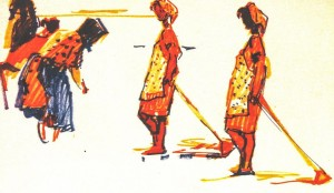 Girls With Choppers, 1971, marker on paper, 30х40,5