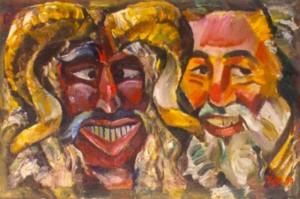 'Дві бушо-маски', 1990, 35х42
