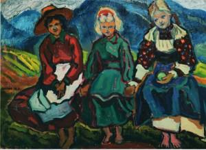 Три дівчини, 60-ті рр., п.о., 57х81