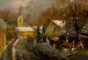Street In The Old Town In Winter, the 1990s, oil on canvas