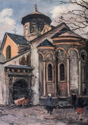 Armenian Church In Lviv, 1951, oil on cardboard, 70x50