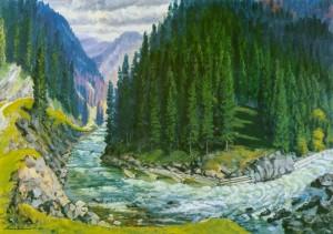 Гірська річка, 1961, п.о. 84х116
