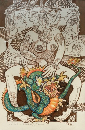 J. Reiti Dragon Named Shu-Shu', 2018, ink on paper, pastel, 43x29