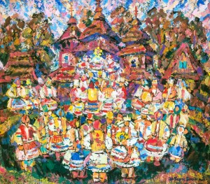 Folk Festivities, 2004, tempera on canvas, 100х120
