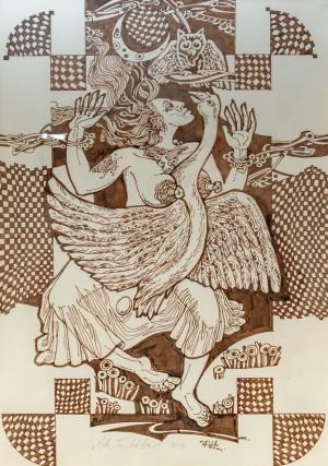 J. Reiti Leda', 2018, ink on paper, 40x28