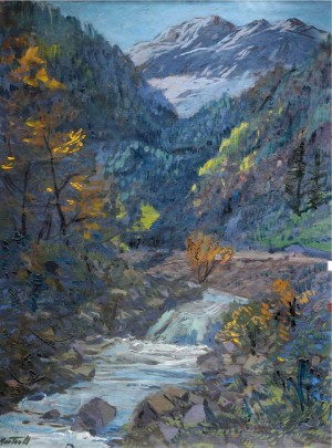 Mountain Stream, the 1960s, oil on canvas, 86x64