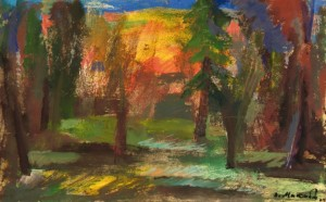 Село через просвіт дерев, 2009, орг.т. 26,7х42,8