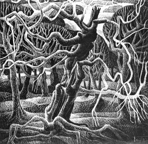 "From the series ""Trees Life"", 1992, cardboard, engraving on black ground, 90x90"