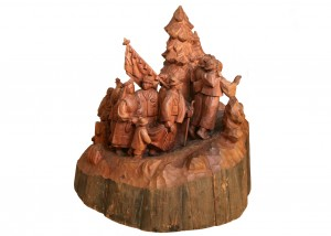 Wedding Ceremony, 1966, wood (mahogany), round sculpture