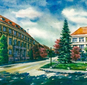 The State Bank Building 1997 watercolour
