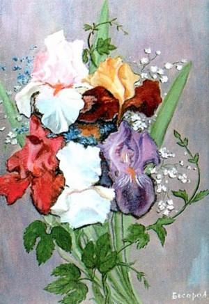 'Irises', 2004, oil on cardboard, 34x48