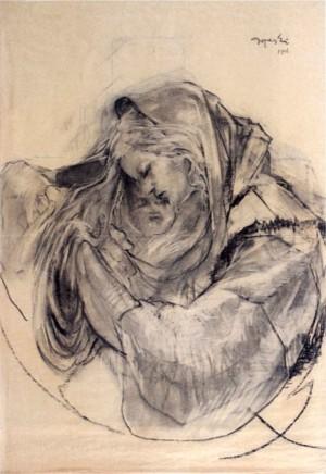 Борецький А. Материнство , 1946, пап.вуг., 125х85,5