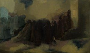 "A. Borotei ""In The Queue For Bread"", 2014, oil on canvas, 60x100"