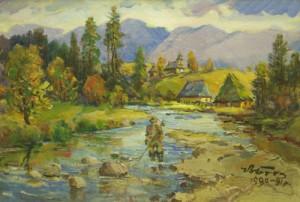 Fishing On The River, 1990, oil on cardboard, 48,5х69,5