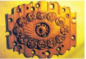 Zodiac Signs, Decorative Clock, wood,carving,1984, 250х300