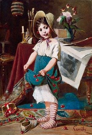 Girl With Cherries In The Studio, oil on canvas, 55.5x38