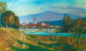 View of the old Uzhhorod 1998 pastel on cardboard 40x64