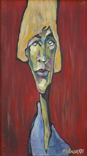 Жіночий портрет на червоному фоні, 1991, п.о., 70х40