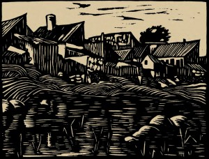 River Bank Latorytsia In Mukachevo, 1938, linorite on paper, 16x21