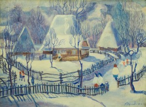 Верховинське зимове село, 1975, п.о., 49х66