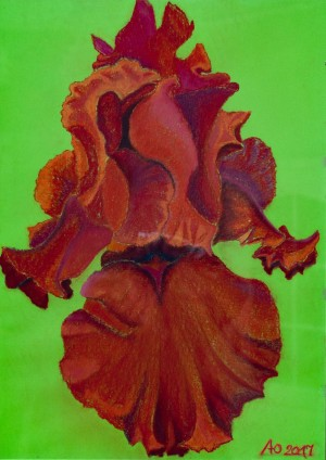 'Pulsating, Hot, Intriguing, The One Dancing With Passion – A Fiery Iris Yuliia', 2017, pastel on paper