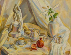 White Still Life With Red Pomegranate, 2013