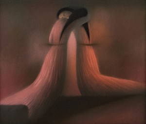 N. Ponomarenko 'Embrace', 1990, pastel on cardboard, 59,5х69,5