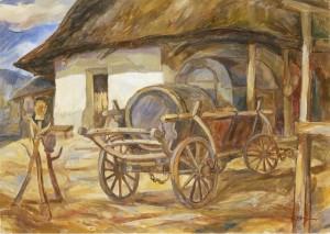 Сільське подвір'я, 1990, п.о., 50x70