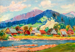 Village Above The River, 1972, oil on canvas, 56x80