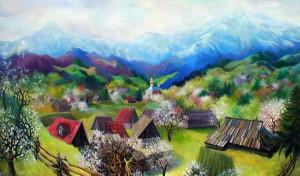 'In Rakhiv Region', 2002, oil on canvas, 125x70.JPG