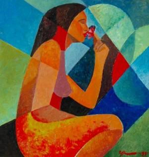 A Girl With Flower', 1999, 54,5х35,5