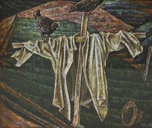 Пужало, 1981, п.о. колаж 76,5х88,5