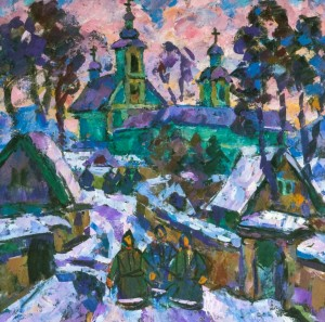 Mukachevo Monastery, 1992, tempera on canvas, 80х80