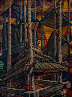 F. Manailo Hay Barracks', 1975, oil on canvas, 92,5x67