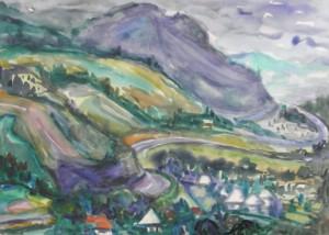 Карпатський краєвид, 1983, пап.акв., 42х60