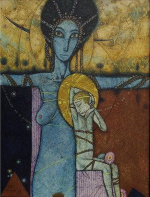 Мадонна з дитям, 1995, т.левкас, 47х35,5