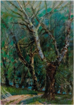 A Tree On The Danube Shore, 1979, oil on canvas, 95x76