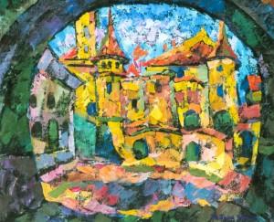 Mukachevo Castle, 1995, tempera on canvas, 70х80