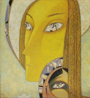 Мадонна з дитям. Відродження, 1995, т.двп, левкас, жовткова емульсія