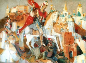 St. George - Slays The Dragon - the patron of human rights defenders, 2003, oil on canvas, 125x170