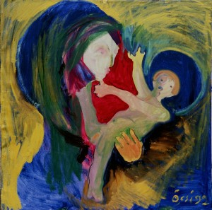 Hutsul Madonna, from the photo archive of Y. Nebesnyk, 1992, oil on canvas, 100x100
